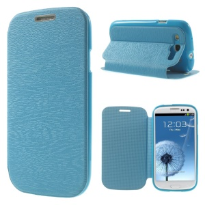 Tree Bark Texture TPU Inner Leather Stand Cover for Samsung Galaxy S 3 I9300 - Blue