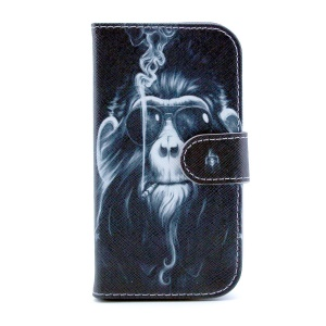 Protective Leather Case Wallet for Samsung Galaxy S III I9300 - Funny Monkey Smoking