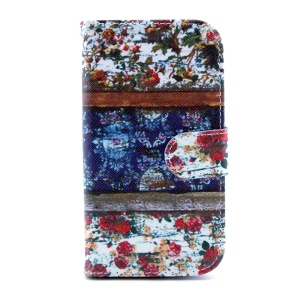 Protective Leather Card Slot Case for Samsung Galaxy S III I9300 - Flowers Painting