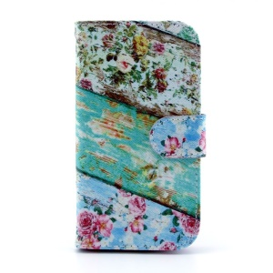 Protective Leather Card Holder Cover for Samsung Galaxy S III I9300 - Roses Flower