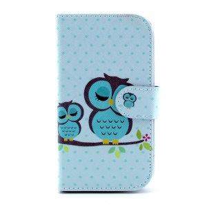 Leather Protective Stand Cover for Samsung Galaxy S III I9300 - Green Sleeping Owl