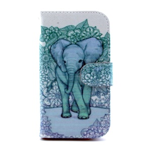 Magnetic Flip PU Leather Cover for Samsung Galaxy S III I9300 - Elephant Art Print