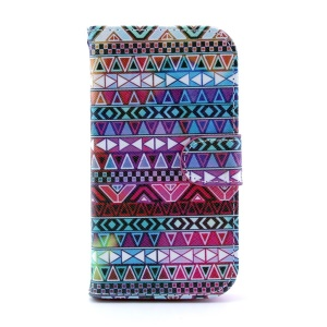 PU Leather Wallet Stand Cover for Samsung Galaxy S III I9300 - Aztec Tribal Pattern