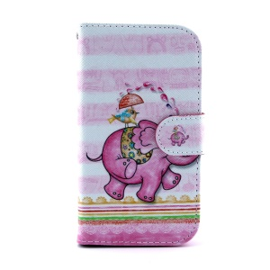For Samsung Galaxy S III I9300 Flip Leather Wallet Case - Cartoon Elephant & Bird