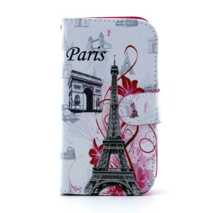 For Samsung Galaxy S III I9300 Leather Case Card Holder - Paris Elements Pattern