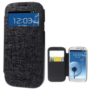 Mercury Viva Window View Oracle Grain Leather Case for Samsung Galaxy S3 i9300 - Black