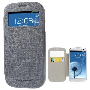 Mercury Viva Window View Oracle Grain Leather Case w/ Card Slot for Samsung Galaxy S3 i9300 - Grey