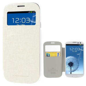 Mercury Viva Window View Oracle Grain Leather Cover w/ Card Slot for Samsung Galaxy S3 i9300 - White