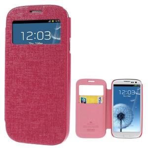 Mercury Viva Window View Oracle Grain Leather Flip Case for Samsung Galaxy S3 i9300 - Rose