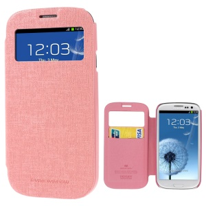 Mercury Viva Window View Oracle Grain Leather Flip Cover for Samsung Galaxy S3 i9300 - Pink