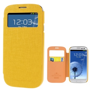 Mercury Viva Window View Oracle Grain Leather Card Holder Case for Samsung Galaxy S3 i9300 - Yellow