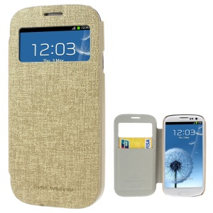 Mercury Viva Window View Oracle Grain Leather Card Holder Cover for Samsung Galaxy S3 i9300 - Champagne
