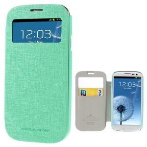 Mercury Viva Window View Oracle Grain Leather Folio Case for Samsung Galaxy S3 i9300 - Cyan