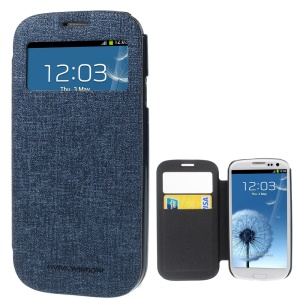 Mercury Viva Window View Oracle Grain Leather Folio Cover for Samsung Galaxy S3 i9300 - Dark Blue