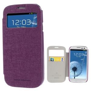 Mercury Viva Window View Oracle Grain Leather Case Accessory for Samsung Galaxy S3 i9300 - Purple