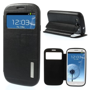 Grid Pattern Window View Leather Stand Case for Samsung Galaxy S3 I9300 - Black