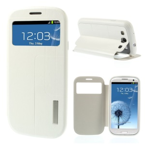 Grid Pattern Window View Leather Stand Cover for Samsung Galaxy S3 I9300 - White