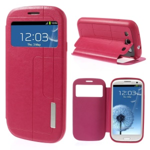 Grid Pattern Window View Leather Case w/ Stand for Samsung Galaxy S3 I9300 - Rose