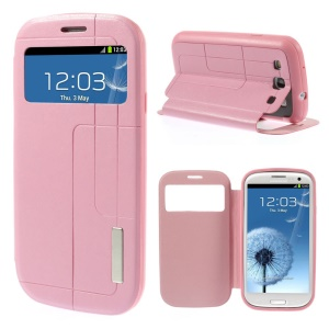 Grid Pattern Window View Leather Cover w/ Stand for Samsung Galaxy S3 I9300 - Pink