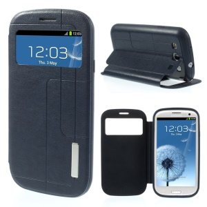 Grid Pattern Window View Stand Leather Case for Samsung Galaxy S3 I9300 - Dark Blue