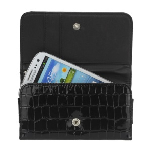 Stone Textured Leather Wallet Case Handbag for Samsung Galaxy S3 S4 i9500 For iPhone 5 - Black
