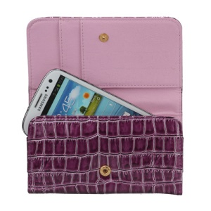 Stone Textured Leather Wallet Case Handbag for Samsung Galaxy S3 S4 i9500 iPhone 5 - Purple