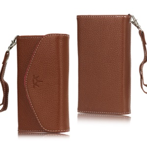Crown Lychee Leather Pouch Case for Samsung Galaxy S3 i9300 S4 i9500 iPhone 5 - Brown