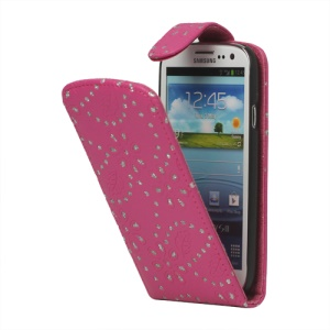 Glittery Powder PU Leather Flip Case for Samsung Galaxy S 3 / III I9300 I747 L710 T999 I535 R530 - Rose