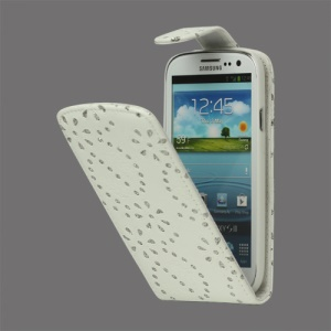 Glittery Powder PU Leather Flip Case for Samsung Galaxy S 3 / III I9300 I747 L710 T999 I535 R530 - White