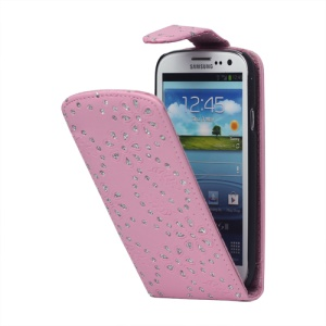 Glittery Powder PU Leather Flip Case for Samsung Galaxy S 3 / III I9300 I747 L710 T999 I535 R530 - Pink