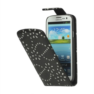Glittery Powder PU Leather Flip Case for Samsung Galaxy S 3 / III I9300 I747 L710 T999 I535 R530 - Black
