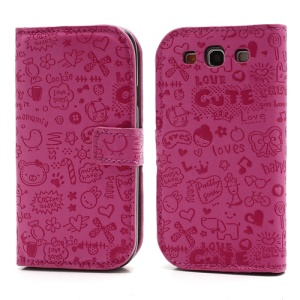 Cute Cartoon Flip Leather Case for Samsung I9300 Galaxy S3 S III - Rose