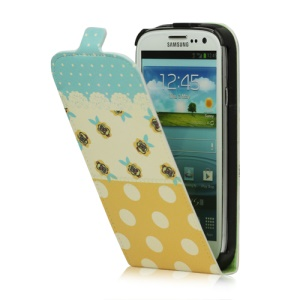 Flowers Polka Dot For Samsung Galaxy S 3 / III I9300 I747 L710 T999 I535 R530 Magnetic Leather Case