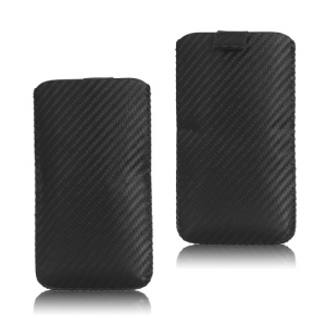 Carbon Fiber Pull Up Tab Leather Pouch for Samsung Galaxy S 4 IV i9500 i9505