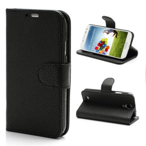 Litchi Grain Wallet Style Folio Leather Stand Case for Samsung Galaxy S 4 IV i9500 i9505 - Black