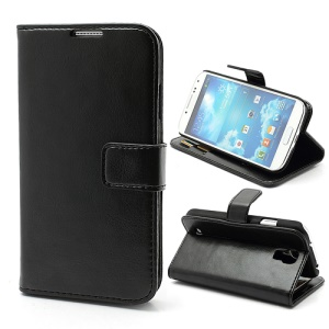 Crazy Horse Leather Wallet Case w/ Stand for Samsung Galaxy S4 IV i9500 i9505 - Black