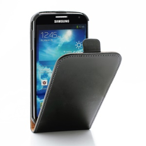 Genuine Split Leather Vertical Flip Case for Samsung Galaxy S4 i9500 i9505 - Black
