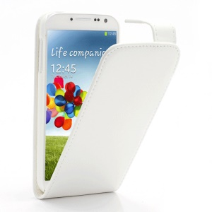 Classic Vertical Magnetic Flip Leather Case Cover for Samsung Galaxy S4 S IV i9500 i9505 - White