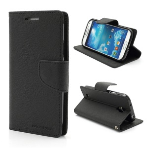 Mercury Fancy Diary Stand Leather Wallet Case for Samsung Galaxy S4 IV i9500 i9502 i9505 - Black