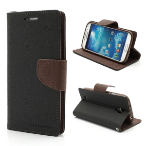 Mercury Fancy Diary Stand Leather Wallet Case for Samsung Galaxy S4 IV i9500 i9502 i9505 - Coffee / Black