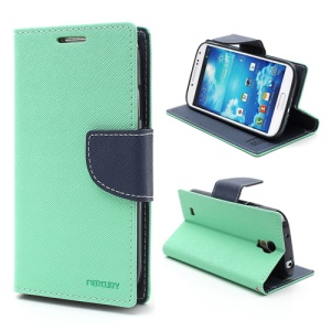 Mercury Fancy Diary Stand Leather Wallet Case for Samsung Galaxy S4 IV i9500 i9502 i9505 - Dark Blue / Cyan