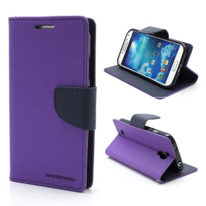 Mercury Fancy Diary Stand Leather Wallet Case for Samsung Galaxy S4 IV i9500 i9502 i9505 - Dark Blue / Purple