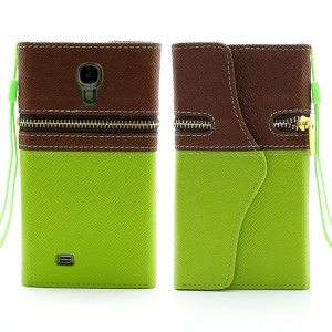 Zipper TPU Holder Leather Wallet Case for Samsung Galaxy S4g IV i9500 I9502 i9505 - Brown / Green