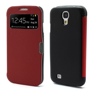 Magnetic Wake Up Sleep Leather Case Smart Cover for Samsung Galaxy S IV S4 i9500 i9505 - Red