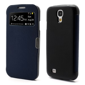 Magnetic Wake Up Sleep Leather Case Smart Cover for Samsung Galaxy S IV S4 i9500 i9505 - Dark Blue