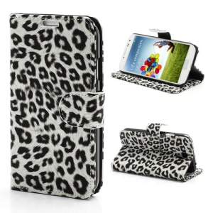Folio Leopard Leather Wallet Case Stand for Samsung Galaxy S 4 IV i9500 i9505 - White