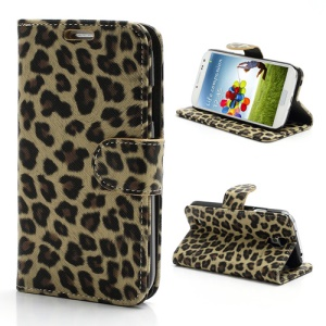 Folio Leopard Leather Wallet Case Stand for Samsung Galaxy S 4 IV i9500 i9505 - Beige