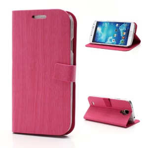 Wooden Texture Skin Leather Case with Stand for Samsung Galaxy S4 IV i9500 i9502 i9505 - Rose