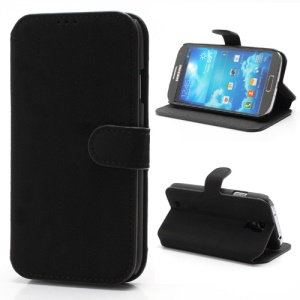 Soft Frosted Leather Case with Wallet & Stand for Samsung Galaxy S 4 IV i9500 i9502 i9505 - Black