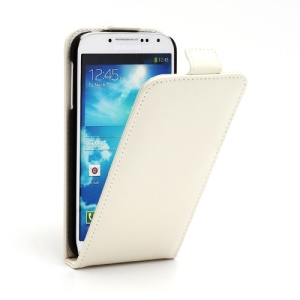 Superb Vertical Flip Genuine Leather Case Cover for Samsung Galaxy S4 IV i9500 i9502 i9505 - White